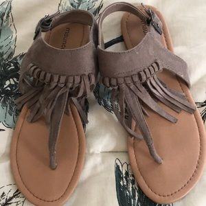 Maurice's taupe faux suede fringe sandal worn once